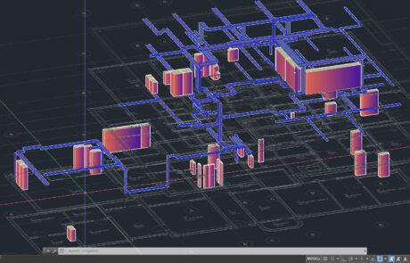 Kabeltrasse und Verteilungsanlagen in einem mehrgeschossigen Gebäude (3D-Ansicht mit unterlegten Grundrissen)